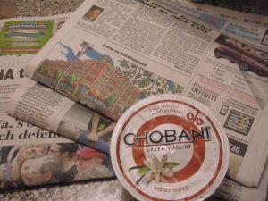Newspaper and yogurt