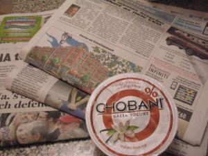 Newspaper and yogurt