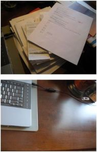 Two views of a desk -- one messy, one clean.