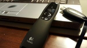 Computer, presentation remote, jump drive